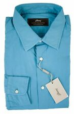 BRIONI Denim Collection Teal Blue Extrafine Cotton Button Down Shirt L 16.5 NWT
