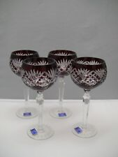 4 Crystal Legends by Godinger PINEAPPLE Red Cut to Clear Cased Wine Hock Goblets