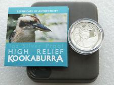 2014 Australia Kookaburra High Relief $1 UN DOLLARO ARGENTO PROOF MEDAGLIA BOX COA