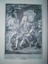 Planche gravure Portrait de samuel Bernanrd Comte de Coubert d'aprés Rigaud