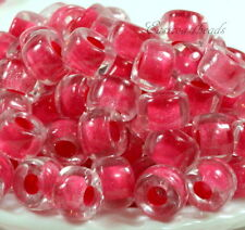 Pony, Roller Beads, 3 1/2mm Hole, Crystal w/Pink Lining, Czech, 20 Pcs, 0044