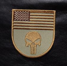 PUNISHER USA FLAG SHIELD MILSPEC DESERT TAN MORALE ARMY HOOK PATCH