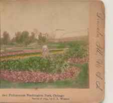 Lady Bicycle Greenhouses Washington Park Chicago IL Stereoview c1900