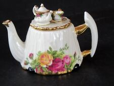 Royal Albert OLD COUNTRY ROSES Decorative Miniature Teapot  ~Excellent