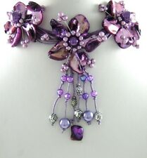 Purple Natural Mother of Pearl Flower Pendant Beads Necklace Women Jewelry FA007