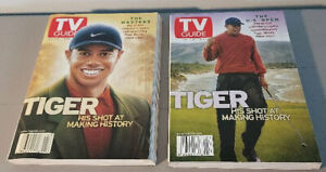 Tiger Woods TV Guide The Masters June 2001 - 2 Diff Covers - NEVER READ!