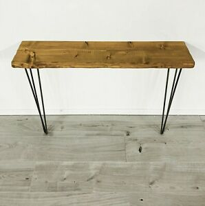 Industrial Rustic Console Table Hallway Handmade Hairpin Legs Chunky Solid Wood