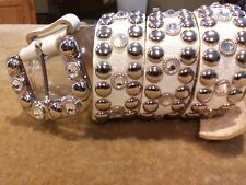 Women's White Leather Silver Buckle Rhinestone Diamonds & Silver Stud Belt SZ. M
