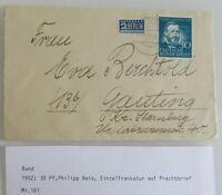 1952 Bund 30 Pf. Philipp Reis Einzelfrankatur auf Brief gelaufen nach Gauting