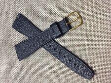 20mm BLACK STRAP  Genuine HIRSCH SADDLE LEATHER  Vintage WATCH BAND  gold buckle