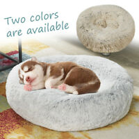 Donut Plush Pet  Cat Bed Fluffy Soft Warm Calming Bed Sleeping Dog Kennel Nest