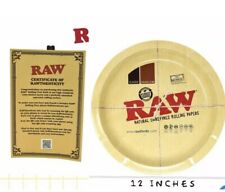 """RAW  ROUND METAL Cigarette Rolling Tray 12"""" (LARGE) with CERTIFICATE"""