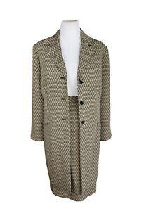 LE SUIT Women 2PC Polyester Lined Black Gold Long Suit Skirt  Size 16W