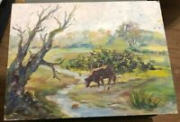 Vintage Painting on Board Signed Cow Pasture The Beef Richard Thomson 1972