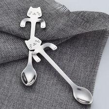 Stainless Steel Silver Hanging Cup Cat Coffee Tea Drink Spoon Teaspoon Cutlery