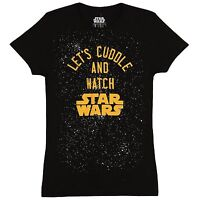 Star Wars Let's Cuddle and Watch SW Black Juniors Womens T-shirt New