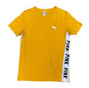 Victoria's Secret PINK Women's Yellow Crew Short Sleeve T Shirt | S