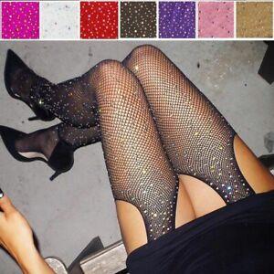 Glitter Fishnet Stockings Open Crotch Pantyhose Shiny Rhinestone Tights Stocking