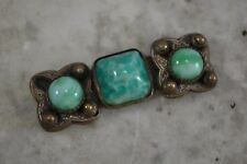 VINTAGE French 1920s green Peking glass belt buckle