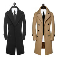 Men's Slim Stylish Trench Coat Winter Long Jacket Double Breasted Overcoat