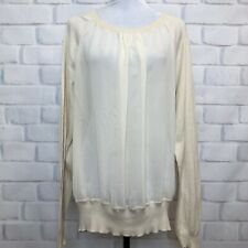 See By Chloe Ivory Sheer Front Sweater Size 8