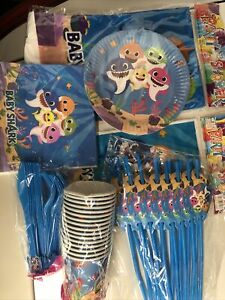 baby shark party supplies Set For 16 Guests Includes 1 Table Cover, 16 Pcs Each
