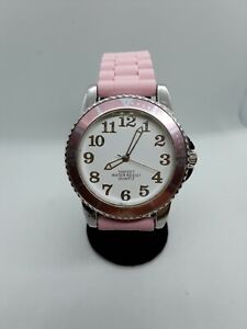 Ladies Pastel Pink Silicone Band Bezel Quartz 100ft Water Resistant Wrist Watch