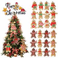 12Pc Gingerbread Mans Christmas Hanging Pendants Xmas Tree Decor Ornaments Party
