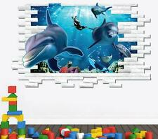 3D ocean dolphins Home Decor Removable Wall Sticker Decal Decoration Vinyl Mural