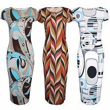 NEW WOMENS LADIES GEOMETRIC PRINT CAP SLEEVE MIDI DRESSES BODYCON CALF LENGTH