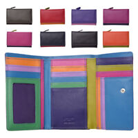 Ladies RFID Blocking Super Soft Genuine Leather Purse Wallet Black Pink Purple