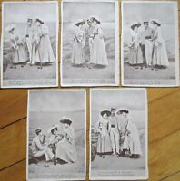 Croquet/Lawn Golf - Set of FIVE, 1905 French Fantasy Postcards