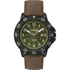 Timex Men's Expedition Rugged Resin Green Dial Brown Leather Strap Watch T49996