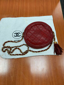 Chanel Round Clutch with Chain Quilted Burgundy Color with Chanel Dustbag