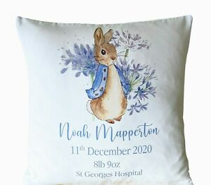 """Personalised Peter Rabbit birth new baby 16"""" white cushion cover baby boy gift"""
