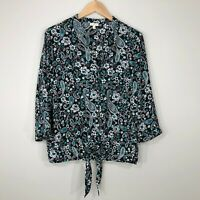 Talbots 3/4 Sleeve Button Tie Front Blouse Top Womens M Black Turquoise Floral