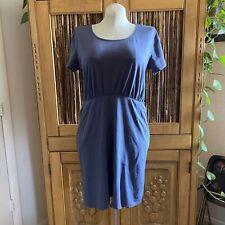 Organic Cotton Pact Apparel Slate Gray Blue Simple Short Sleeve Dress, XL