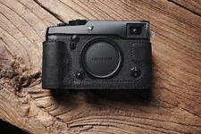 Genuine Real Leather Half Camera Case Bag Cover for FUJIFILM X-PRO2 Black Stitch