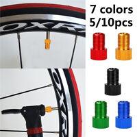 5/10pcs Aluminum Alloy Valve Adapter Converter Bicycle Bike Tire Tube Cover