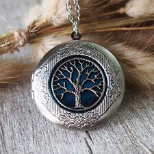 Handmade Tree Of Life Photo Locket Pendant Necklace Oxidized Silver Tone
