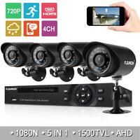 FLOUREON 5in1 4CH 1080N DVR 1500TVL Outdoor Security Camera System Night IR CUT