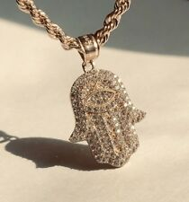 1.00ct Hamsa Hand Round Created Diamond Pendant 14K Solid Yellow Gold