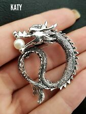 Vintage Style Diamante Pearl Dragon BROOCH Pin Antique Silver Tone Broach
