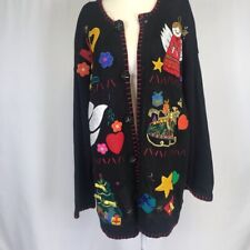 VICTORIA HARBOUR Christmas Cardigan Vintage Long Sleeve Button Up