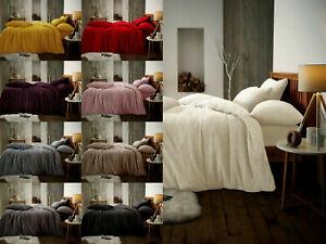 Teddy Bear Fleece Duvet Cover Quilt Soft Cosy Bedding Set & Pillowcases All size