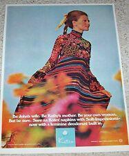 1972 ad page - Kotex sanitary napkins - cute girl Scott Barrie fashion PRINT AD
