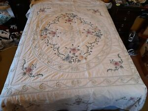 Ornate Large Applique Quilted Bed Cover.