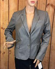 Calvin Klein Damen Blazer 2 Knöpfe Businesskleid Jacke Grau Größe 10P
