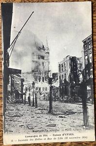 WW1 Ypres Ruins Rue De Lille On Active Service 1915 FPO 28 Censor Mark Postcard
