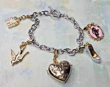 Disney Couture Cinderella Charm Silver Tone Bracelet W/ 5 Couture Charms Gold